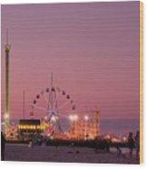 Funtown Pier At Sunset IIi - Jersey Shore Wood Print by Angie Tirado
