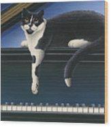 Fur Neil - Cat On Piano Wood Print