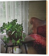 Furniture - Plant - Ivy In A Window  Wood Print by Mike Savad