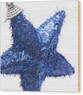 Furry Christmas Star Wood Print