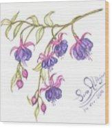 Fuschia Flowers Wood Print