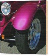Fuschia Hot Rod Wheel  Wood Print