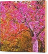 Fuschia Tree Wood Print