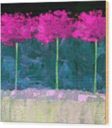 Fuschia Trees Wood Print
