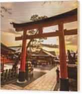 Fushimi Inari Taisha Shrine In Kyoto Wood Print