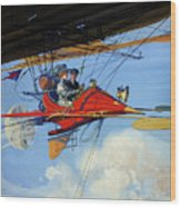 Futuristic Air Travel Vintage Poster Wood Print