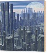 Futuristic City - 3d Render Wood Print