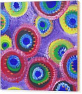 Fuzzy Purple Circles Wood Print
