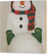 Fuzzy Snowman    Holiday Card 1 Wood Print
