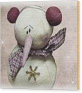 Fuzzy The Snowman Wood Print