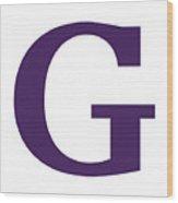 G In Purple Typewriter Style Wood Print