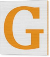 G In Tangerine Typewriter Style Wood Print