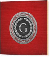 G - Silver Vintage Monogram On Red Leather Wood Print
