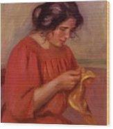 Gabrielle Mending 1908 Wood Print