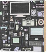 Gadgets Icon Wood Print