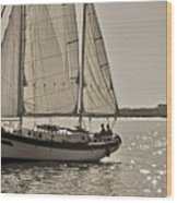 Gaff Rigged Ketch Cutter Sailing The Charleston Harbor Wood Print