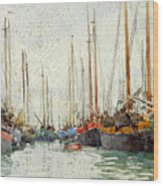 Gaily Coloured Fishing Vessels Wood Print