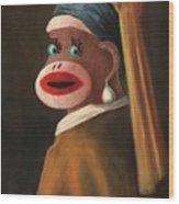 Gal With A Pearl Earring Wood Print
