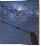 Galactic Kiwi On A Barbed Wire Wood Print