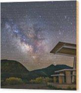 Galactic Picnic - Milky Way At Pyramid Lake Wood Print