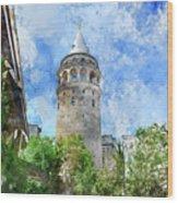 Galata Tower In Istanbul Tukey Wood Print