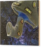Button In Space Wood Print