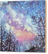 Galaxy Spring Night Watercolor Wood Print