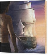 Galeon On The Horizon Wood Print