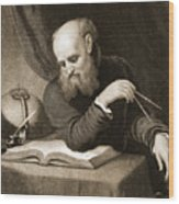 Galileo With Compass And Diagrams Wood Print