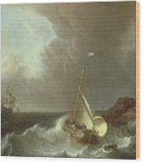 Galleon In Stormy Seas   Wood Print by Jan Claes Rietschoof