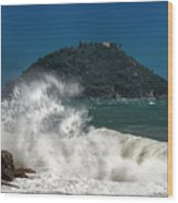 Gallinara Island Seastorm - Mareggiata All'isola Gallinara Wood Print