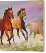 Galloping Horses Wood Print