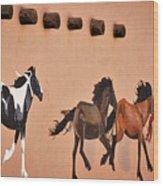Galloping Horses Mural - Taos Wood Print