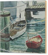 Galveston Boats Watercolor Wood Print