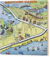 Galveston Texas Cartoon Map Wood Print