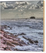 Galveston's Piers Wood Print