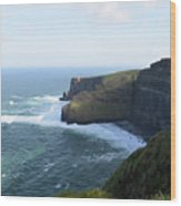 Galway Bay And Towering Cliffs Of Moher In Ireland Wood Print