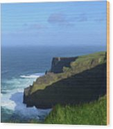 Galway Bay Churning Below The Cliffs Of Moher Wood Print