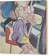 Gambling Lady Wood Print