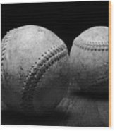 Game Used Baseballs In Black And White Wood Print