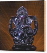 Ganesha With Fire Background Wood Print