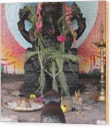 Ganesha With Pink Flowers, Valparai Wood Print