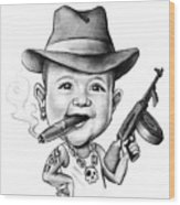 Ganster Child Caricature Wood Print