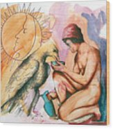 Ganymede And Zeus Wood Print by Rene Capone