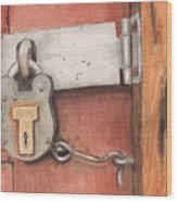 Garage Lock Number Four Wood Print