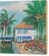 Garden Beach House Wood Print