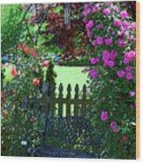 Garden Bench And Trellis Wood Print