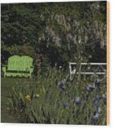 Garden Bench Green Wood Print