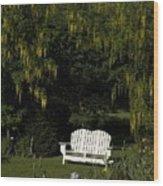 Garden Bench White Wood Print