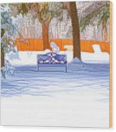 Garden  Bench With Snow Wood Print